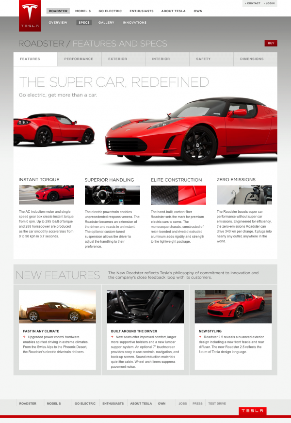 Tesla Roadster Specifications